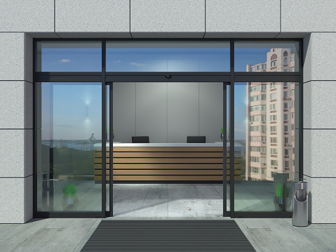 3D illustration. The facade of a modern shopping center or station, an airport with automatic sliding doors.